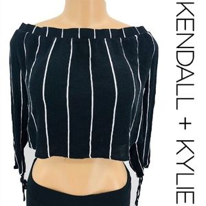 Kendall + Kylie Off The Shoulder Crop Blouse